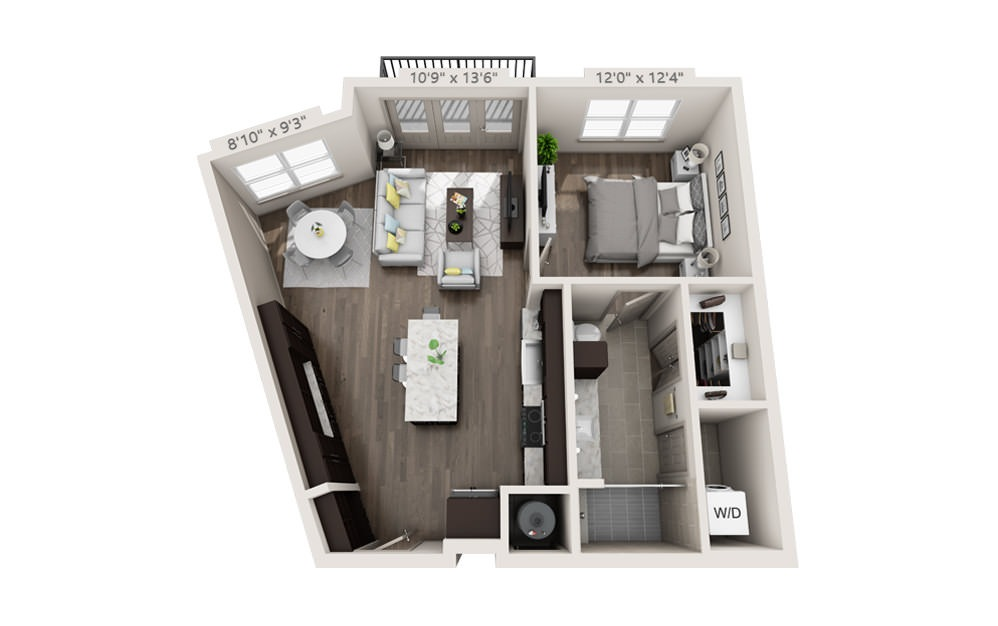 A2 - 1 bedroom floorplan layout with 1 bath and 780 square feet.