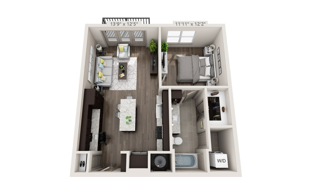 A3 - 1 bedroom floorplan layout with 1 bath and 738 to 865 square feet.