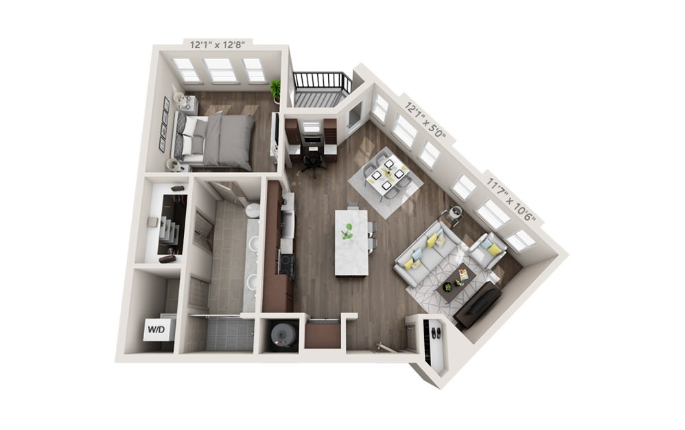 A4 - 1 bedroom floorplan layout with 1 bath and 829 square feet.