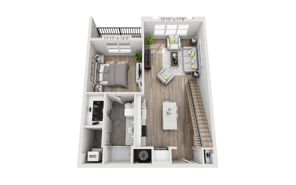 A5M - 1 bedroom floorplan layout with 1 bath and 910 to 1015 square feet. (Floor 1)
