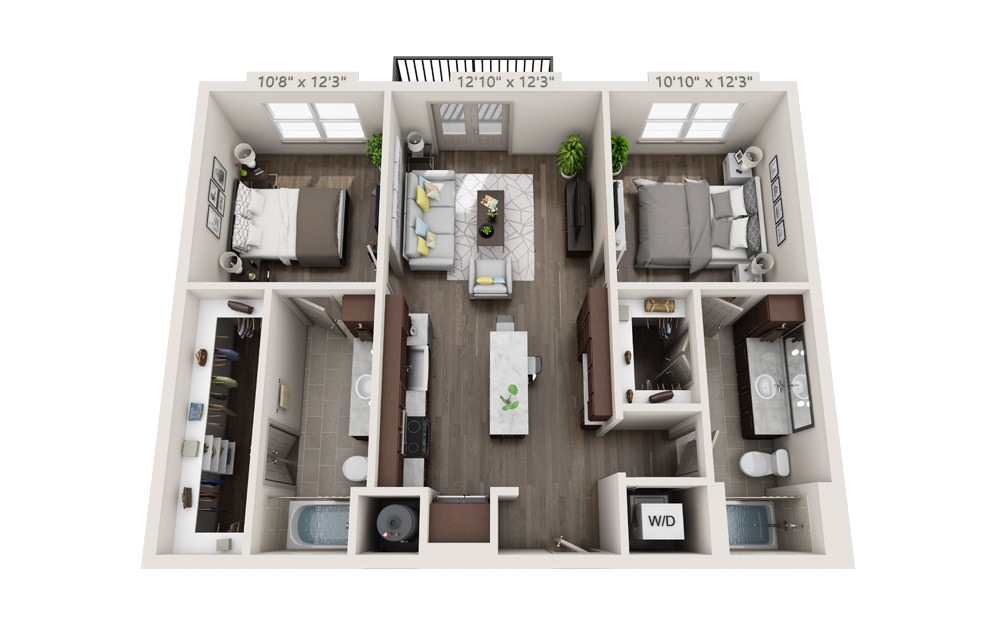B1 - 2 bedroom floorplan layout with 2 baths and 1008 to 1075 square feet.