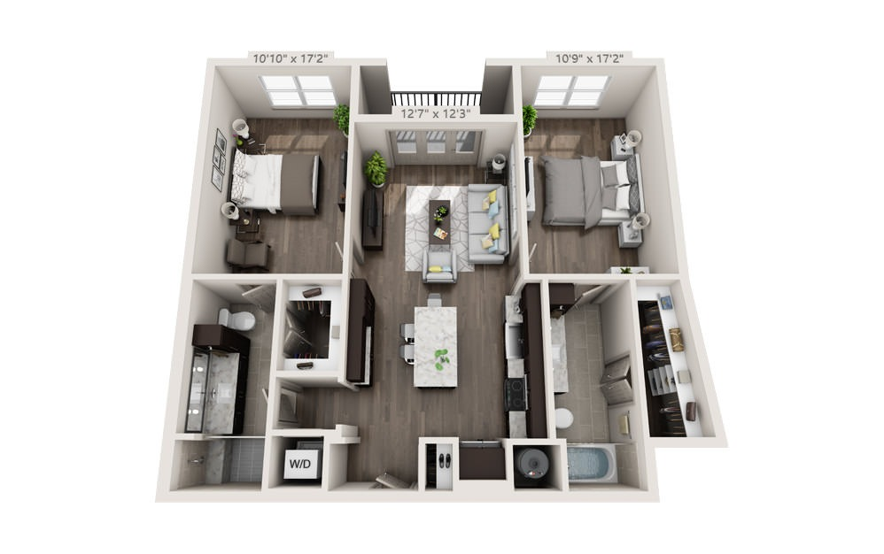 B2 - 2 bedroom floorplan layout with 2 baths and 1121 square feet.