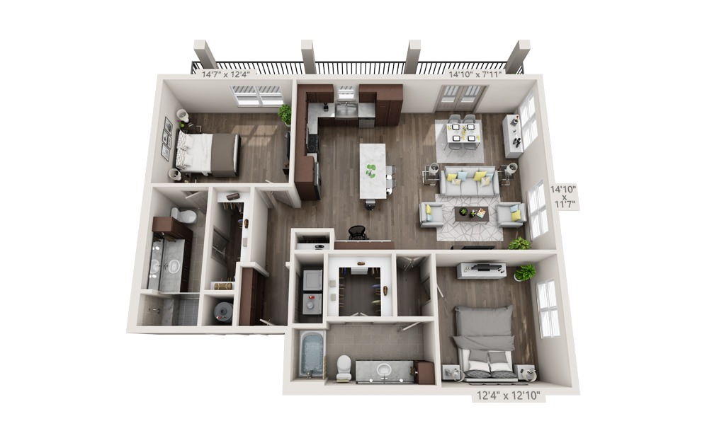 B7 - 2 bedroom floorplan layout with 2 baths and 1361 square feet.