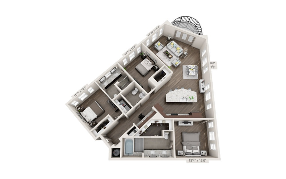 C1 - 3 bedroom floorplan layout with 2 baths and 1746 square feet.